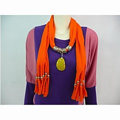 Bufanda Poliester Algodón Naranja Piedra colgante, collar