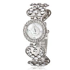 preiswerte Tolle Angebote auf Uhren-Damen Armband-Uhr Japanisch Quartz Imitation Diamant Legierung Band Heart Shape Freizeit Silber