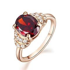 preiswerte Ringe-Damen Kristall / Synthetischer Diamant Statement-Ring - vergoldet, Diamantimitate Geburtssteine 6 / 7 / 8 Rot Für Hochzeit / Party / Normal / Krystall