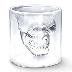 بارد شفاف الإبداعية الجمجمة مخيفة تصميم الرأس النبيذ drinkware الجدة كأس الزجاج النار 75ML