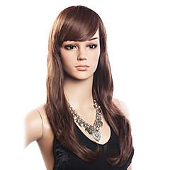 女性 人間の毛のキャップレスウィッグ 密度 バング付き かつら ロング丈 サイドパート