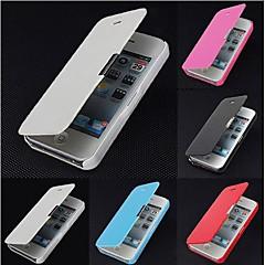 Недорогие Кейсы для iPhone-Для Кейс для iPhone 5 Флип / Матовое / Магнитный Кейс для Чехол Кейс для Один цвет Твердый Искусственная кожа iPhone SE/5s/5
