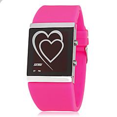 お買い得  メンズ腕時計-女性用 デジタル LED シリコーン バンド Heart Shape ブラック 白 ブルー ピンク ローズ