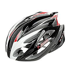 FJQXZ entegral kalıplı EPS + PC Kırmızı ve Beyaz Bisiklet Kask (21 Tahliye)