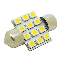 お買い得  自動車用LED電球-31ミリメートル1W 12x3528 SMD 50LM 2800〜3200Kカー花飾りドーム読書ランプ(DC 12V)のためのウォームホワイトライトLED電球