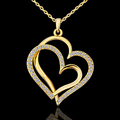 preiswerte Halsketten-Damen Anhängerketten - Strass, Platiert damas, Liebe, Simple Style, Modisch Golden Modische Halsketten Schmuck Für Party, Alltag