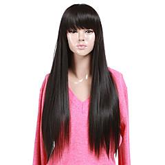 お買い得  人工毛ウィッグ-人工毛ウィッグ バング付き 女性用 ブラックウィッグ