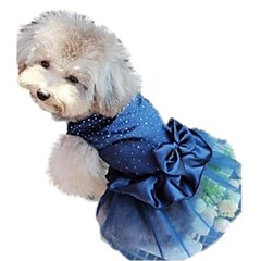 Cat Dog Dress Dog Clothes Birthday Holiday Wedding Sequins Red Blue Golden Costume For Pets