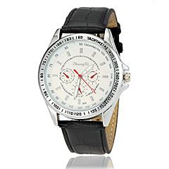 baratos Relógios Masculinos-Homens Quartzo Relógio Elegante Relógio Casual Couro Banda Amuleto Preta Branco Marrom