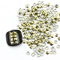 300PCS 3D Golden Square Liga Nail Art de Ouro e Prata Decoração