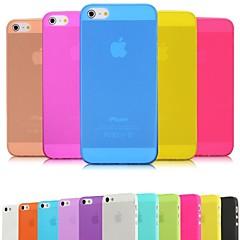 Недорогие Кейсы для iPhone 5-Для Кейс для iPhone 5 Ультратонкий / Матовое / Полупрозрачный Кейс для Задняя крышка Кейс для Один цвет Мягкий PC iPhone SE/5s/5