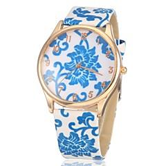 Γυναικεία Καθημερινό Ρολόι Χαλαζίας PU Μπάντα Λουλούδι Λευκή Μπλε 1 2 3 4 5
