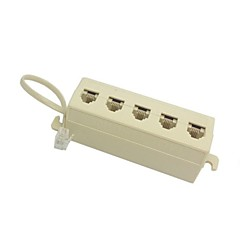 5 Way Outlet 6P4C RJ11 RJ12 Telephone Modular Jack Line Splitter Adapter Beige 1 in 5 out
