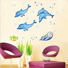 돌고래 패턴 벽 스티커 (1PCS)