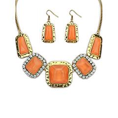 preiswerte Halsketten-Schmuckset - Strass Zierlich, Erklärung, Party Niedlich Orange, Beige, Grün Modische Halsketten Schmuck Für / Ohrringe