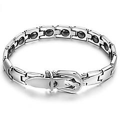 voordelige Armbanden-zwart galsteen anti-vermoeidheid knop titanium stalen gezondheidszorg armband met zowel mannen als vrouwen