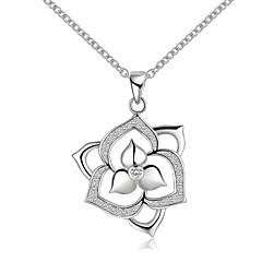 Недорогие Ожерелья-Муж. Жен. С цветами Стерлинговое серебро Циркон Серебристый Ожерелья-бархатки Ожерелья с подвесками Кулоны  -  С цветами Простой