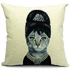 mevrouw kat katoen / linnen decoratieve kussensloop