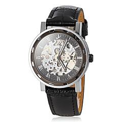 Αντρικά Διάφανο Ρολόι μηχανικό ρολόι Ιαπωνικά Αυτόματο κούρδισμα Εσωτερικού Μηχανισμού Δέρμα Μπάντα Μαύρο Μαύρο