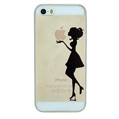 Недорогие Кейсы для iPhone 5-Девушка держит яблоко узор ПК жесткие прозрачная задняя крышка чехол для iPhone 5/5 секунд