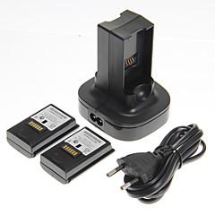 cheap Xbox 360 Accessories-Dual Charger Charging Station Dock and 2 Batteries for Xbox 360(UK Plug)