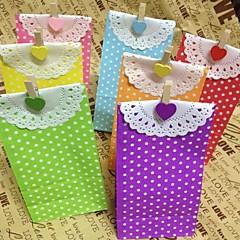 abordables Bolsas y Cajas-5pcs artesanías bolsas de papel de lunares partido (9cm * 6cm * 18cm)