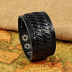 للرجال أساور من الجلد جلد تصميم فريد موضة مجوهرات أسود مجوهرات 1PC