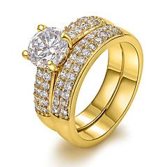 Χαμηλού Κόστους Γυναικεία Κοσμήματα-Γυναικεία Εντυπωσιακά Δαχτυλίδια Ευρωπαϊκό κοστούμι κοστουμιών Ζιρκονίτης Χαλκός 18K χρυσό Προσομειωμένο διαμάντι Κοσμήματα Για Πάρτι