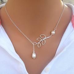 preiswerte Halsketten-Damen Perle Lasso Anhängerketten / Perlenkette - Perle, Künstliche Perle Blattform Grundlegend, Simple Style, Modisch Silber Modische Halsketten Schmuck Für Geschenk, Alltag, Normal
