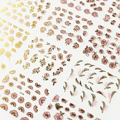 24pcs mix glod bloem roze achtergrond sticker nail art nagel decoraties