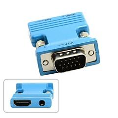 Χαμηλού Κόστους -HDMI θηλυκό σε VGA αρσενικό&προσαρμογέα εξόδου ήχου για PC φορητό υπολογιστή MacBook προβολέα παρακολουθεί μπλε / χρυσό