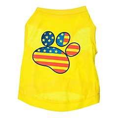 お買い得  犬用ウェア&アクセサリー-ネコ 犬 Tシャツ 犬用ウェア アメリカ/ USA イエロー コットン コスチューム ペット用