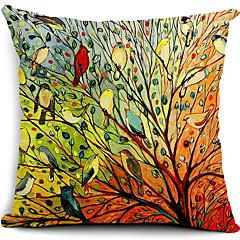 multicolor vogels en boom katoen / linnen decoratieve kussensloop