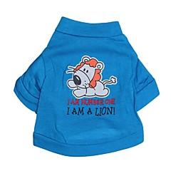お買い得  犬用ウェア&アクセサリー-ネコ 犬 Tシャツ 犬用ウェア 文字&番号 カートゥン ブルー コットン コスチューム ペット用