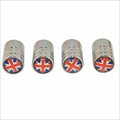 preiswerte Auto Aufkleber-diy britische Flagge Muster Universalreifenluftventilkappen - Silber (4 Stück)