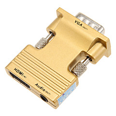 お買い得  ケーブル、アダプター-VGAオス+メスオーディオのHD接続ケーブルに0.1メートル0.328フィートのHDMIメス - ゴールド