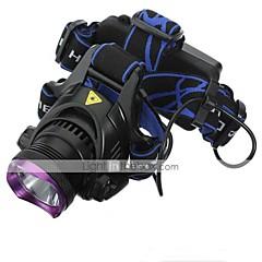 Stirnlampen Schweinwerfer LED 2200 lm 3 Modus Cree XM-L2 inklusive Batterien und Ladegeräten Wiederaufladbar Wasserfest Camping / Wandern