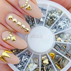 240pcs tırnak sanat altın karışık perçin akrilik yapay elmas şekiller