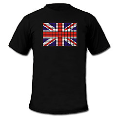 LED-T-shirts Lydaktiverede LED-lys Tekstil S M L XL XXL Nationalflag Sort 2 AAA Batterier