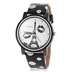 Жен. Нарядные часы Модные часы Кварцевый PU Группа Эйфелева башня Черный Белый Синий Красный