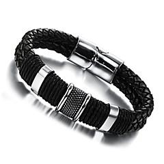 preiswerte Armbänder-Herrn Lederarmbänder - Leder, Titanstahl Einzigartiges Design, Modisch Armbänder Silberschwarz Für Hochzeit / Party / Alltag