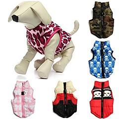 Χαμηλού Κόστους Ρούχα και αξεσουάρ για σκύλους-Γάτα Σκύλος Παλτά Veste Ρούχα για σκύλους Αναπνέει Καθημερινά Φιόγκος καμουφλάζ Κόκκινο Πράσινο Μπλε Ροζ Κόκκινο/Άσπρο Στολές Για