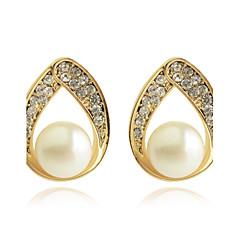 Χαμηλού Κόστους Σκουλαρίκια-Κουμπωτά Σκουλαρίκια Κρεμαστά Σκουλαρίκια Μαργαριτάρι Κρύσταλλο Επιχρυσωμένο απομίμηση διαμαντιών Μοντέρνα Κρεμαστό Χρυσαφί Κοσμήματα