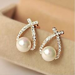 お買い得  イヤリング-女性用 スタッドピアス  -  人造真珠, ラインストーン 十字架 用途 日常