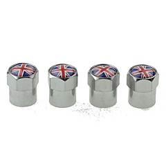 Luxury Car Tire National Flag Copper Valves Decoration Cap (UK 4 Pieces Per Pack)