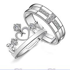 voordelige Ringen-Heren Dames Ringen voor stelletjes Verstelbaar Open Sterling zilver Kroonvorm Sieraden Voor Bruiloft Feest Dagelijks Causaal