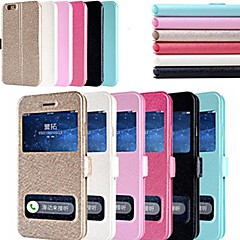 Недорогие Кейсы для iPhone-Назначение Кейс для iPhone 6 Кейс для iPhone 6 Plus Чехлы панели со стендом с окошком Флип Чехол Кейс для Сплошной цвет Твердый