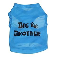 お買い得  犬用ウェア&アクセサリー-ネコ 犬 Tシャツ 犬用ウェア 文字&番号 ブルー テリレン コスチューム ペット用