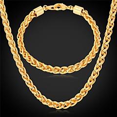 お買い得  ジュエリーセット-ネックレスブレスレット18K本物の金は、男性のための長い分厚いネックレスの宝石セットメッキu7®twistedロープチェーン