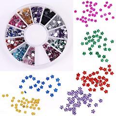 600pcs 12 renk erik şeklinde elmas tırnak sanat dekorasyon